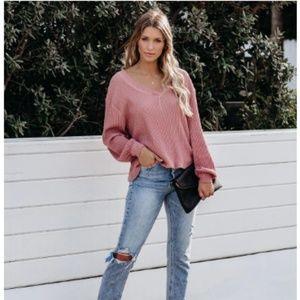 PAULINA Ribbed V-Neck Knit Thermal Top